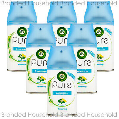 6 x AIR WICK FRESHMATIC AUTOMATIC REFILL AIR FRESHENER PURE REFRESHING 250ML