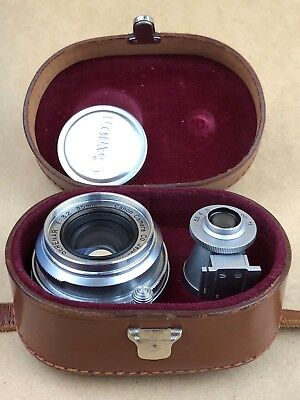 Canon RF 35mm F/3.2 Serenar Leica SM M39 Lens w/ Caps ,Finder & Case #72752 MINT