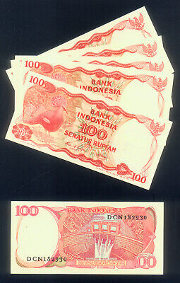 WHOLESALE - CONSECUTIVE BUNDLE of 100 INDONESIA 100 RUPIAH PICK # 122 of 1984