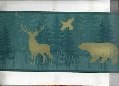 New Country by Brewster 418B44341 New Country Wild Deer Border Green Deer Border