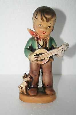 Vintage Japan Art Pottery Hand Painted Young Boy Playing Banjo w Puppy Figurine