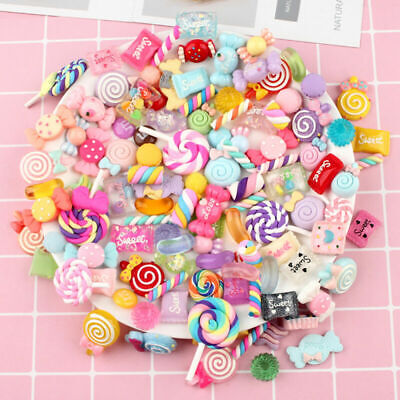DIY 100pcs Mixed Candy Sweets Slime Charms Set Cute Resin Flatback Slime Beads