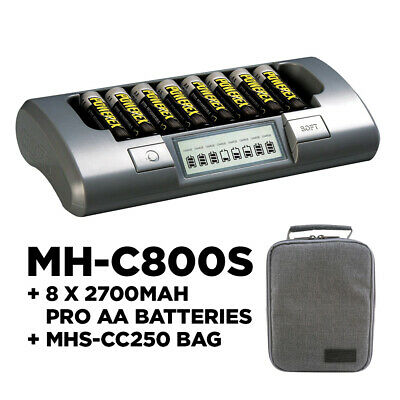 Maha Powerex MH-C800S Charger, 8 x 2700mAh Rechargable Batteries and FREE carry