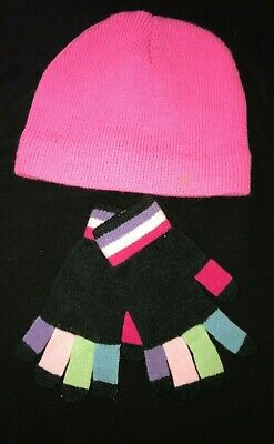 womens NEW black COLORFUL GLOVES pink BEANIE KNIT HAT one size fits most