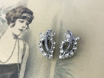 Antique Vtg Art Deco Rhinestone Shoe Clips Buckle Scarf Dress Hair Pin Pair Set
