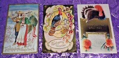 Vintage Early 1900s Thanksgiving Postcards Lot 3 Great Turkeys Embosed Super-