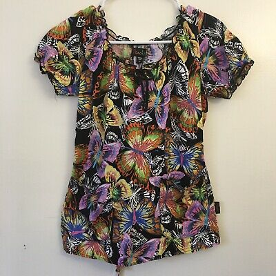 0f0e9e379b3 Peaches Womans Fitted Scrub Top Black w Colorful Butterfly Print Size  XSmall I