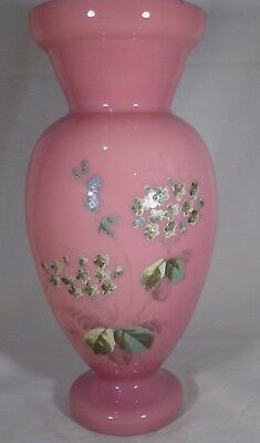 """Antique Glass Vase Pink Hand Painted Flowers Front White Interior 9"""" Tall Good-"""