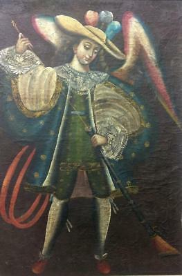 Vintage Cuzco School Oil Painting Winged Angel Man Portrait of Archangel Gabriel