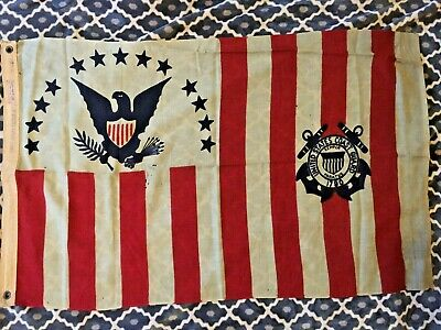 Nice! Vintage US Coast Guard Ensign No. 4 Flag - Wool Material 2.5' x 4'