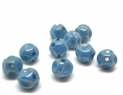 10 Vintage Teal Blue Luster Pinched Glass loose beads Czech German Bohemian 6mm