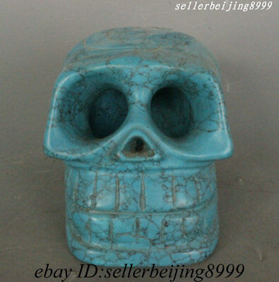 "5"" Rare China Hongshan Culture Turquoise Human skeleton Head human Skull Statue"
