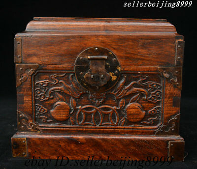 Antique Chhina Huang Huali Wood Hand Carved Bat Peach Storage Jewelry Box Statue