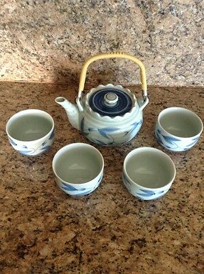 VTG Japanese Handcrafted Tea Set - Asian Tabletop Decor Signed