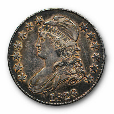 1828 50C Capped Bust Half Dollar Sq Base 2 Sm 8's Lg Lt Extra Fine to AU #4269