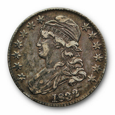 1832 50C Small Letters Capped Bust Half Dollar Extra Fine XF Toned #9829