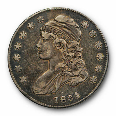 1834 50C Capped Bust Half Dollar Sm Date Small Letters  Extra Fine XF #RP122