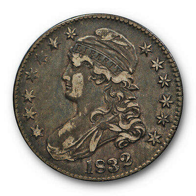 1832 50C Small Letters Capped Bust Half Dollar Extra Fine XF Toned #RP119