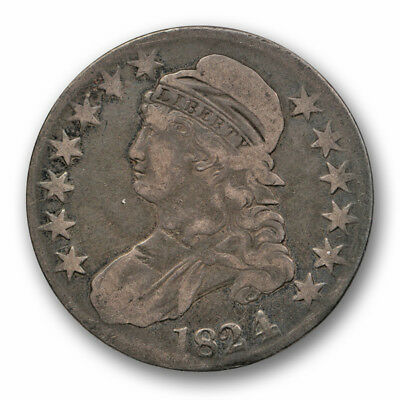 1824/4 50c Capped Bust Half Dollar Fine to Very Fine Original Toned #3246