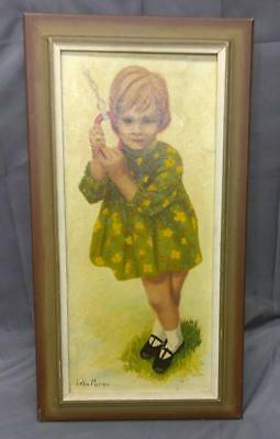 Vintage Oil Painting Portrait Young Child Girl Mid Century Modern Lavon Marrow