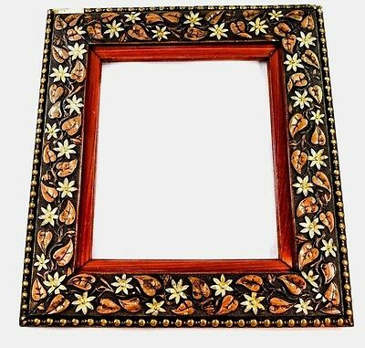 Antique Victorian Leaves & Flowers Wood & Gesso Frame, Polychrome, Beaded Edge