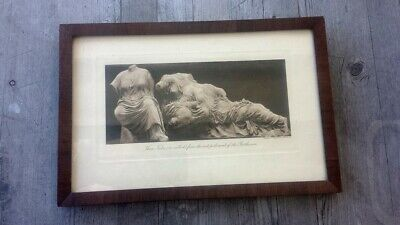 Vintage Framed Heliogravure Photo Parthenon Three Fates Classical GreekSculpture
