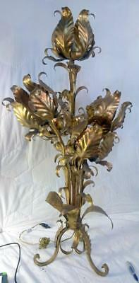 Vintage Mid Century Modern Lamp Light Gold Gilt Wrought Iron Italian Tole Floral