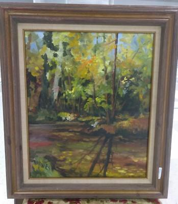 Vintage Old Original Oil Painting Trees Impressionist Landscape by Barnes Signed