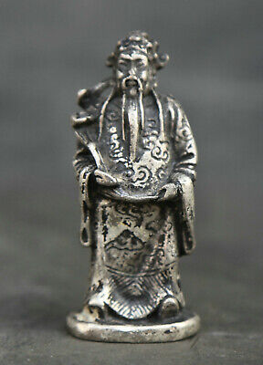 "2.4"" Chinese Miao Silver Taoism Mammon Money Wealth God Hold Ruyi Small Statue"
