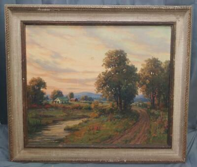 Old Antique Oil Painting Woodstock New York NY Landscape American Impressionist