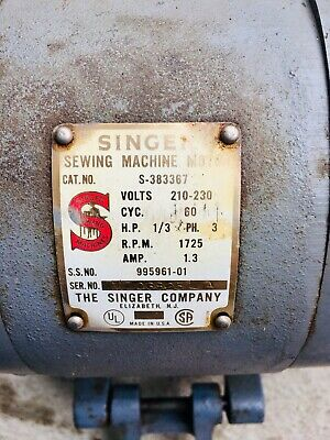 Vintage Industrial Singer Sewing Machine Motor 220 Volts