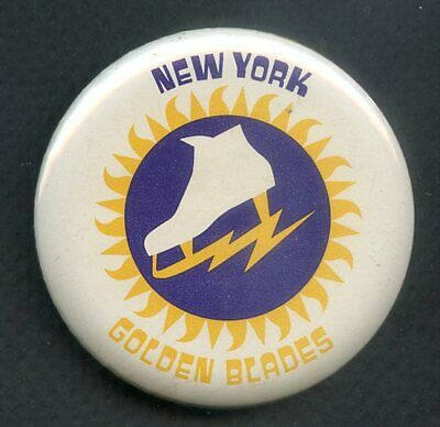 1973 Wha Hockey Buttons New York Golden Blades Ex-Mt 350140 (Kycards)