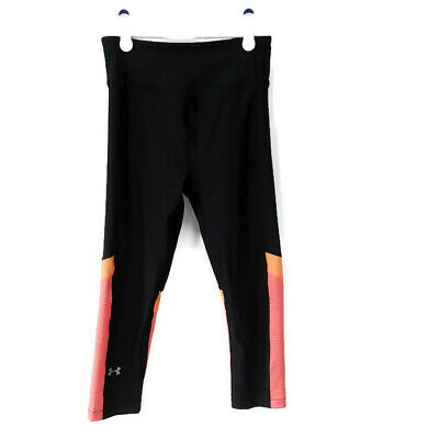 Under Armour Girls Youth Heat Gear Compression Athletic Crop Pants Black Pink XS