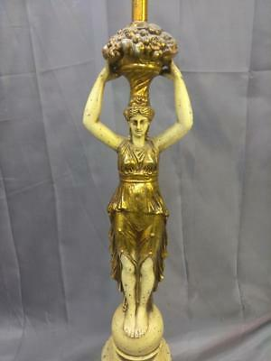 Old Vintage Neoclassical Art Deco Woman Lady Spelter Figural Lamp Light Statue