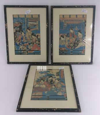 Set of 3 Old Antique Japanese Woodblock Prints Print Asian Art Wood Block Signed