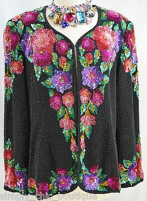 Niteline Della Roufougali Sequined Beaded Silk Holiday Jacket cover shrug top XL
