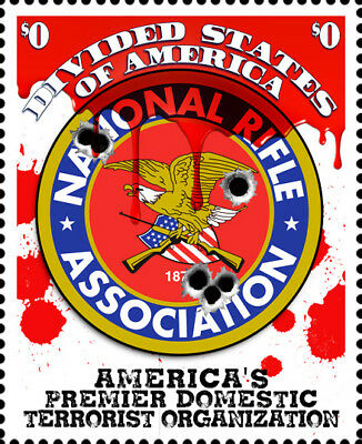 NRA - Terrorist Organization - Art Stamps (Artistamp, Faux Postage, REPRO)