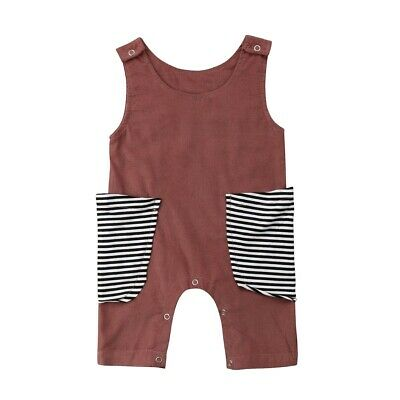 Newborn Kids Baby Girls Boys Pocket Patchwork Rompers Jumpsuits Outfit Summer