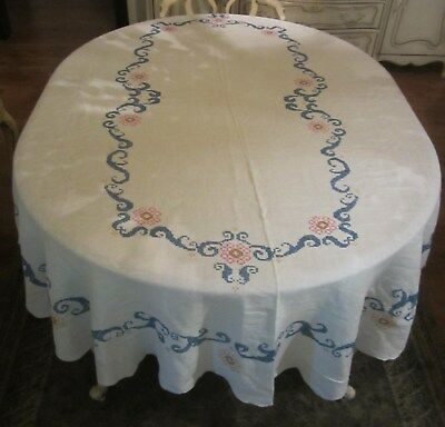 Vintage Cross Stitch Pink Blue Floral Oval Tablecloth w Scalloped Edge 69 X 85