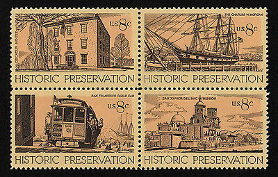 UNITED STATES, SCOTT # 1440-1443 (1443a), BLOCK OF 4 - HISTORIC PRESERVATION,MNH