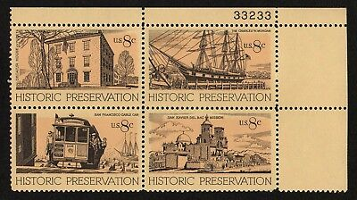 USA, SCOTT # 1440-1443 (1443a), PLATE BLOCK OF 4 - HISTORIC PRESERVATION, MNH