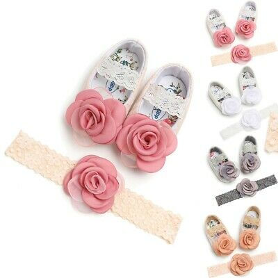 Baby Girls Rose Lace Cute Kid Soft Crib Shoes With Hairband 0-18M Infant Newborn