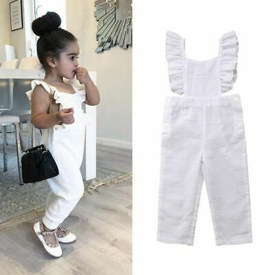 Kids Baby Girls Ruffle Sleeveless Romper Backless Jumpsuit Cotton Summer Clothes