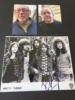 DICK TAYLOR & PHIL MAY 'The Pretty Things' In-person signed Foto 20 x 25 + Foto