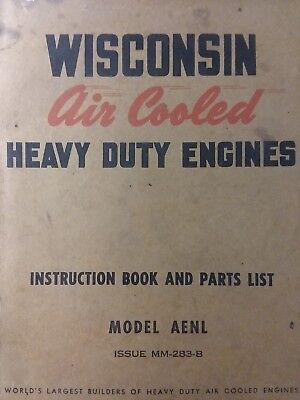 Wisconsin AENL (1 cyl) Engine Owner, Service, Parts Manual Lawn Garden Tractor