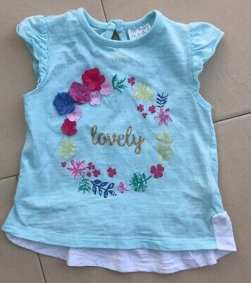Baby Girls 6-9 Months Top Tshirt Summer F&F Free Postage Spring