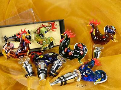 N.1 Favours Wine Stopper Handle Glass Murano Rooster with Murrine and Box 13367