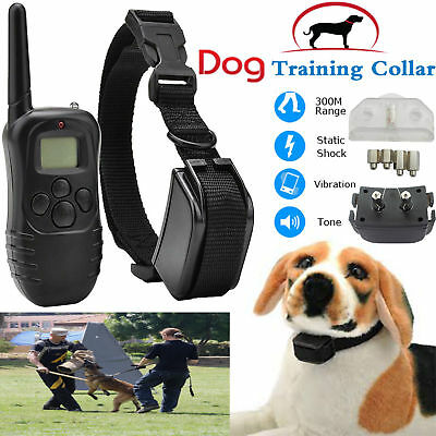 300m Electric Pet Dog Training Collar Shock Rechargeable With LCD Control Remote