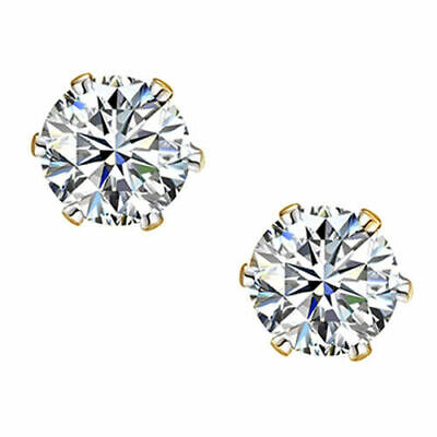 2.50ct Round-Cut D//VVS1 Diamond Six Prong Stud Earrings in 14K Yellow Gold Over