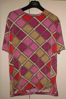 Vintage Lurex Funky Print Top Size 20 Good Condition